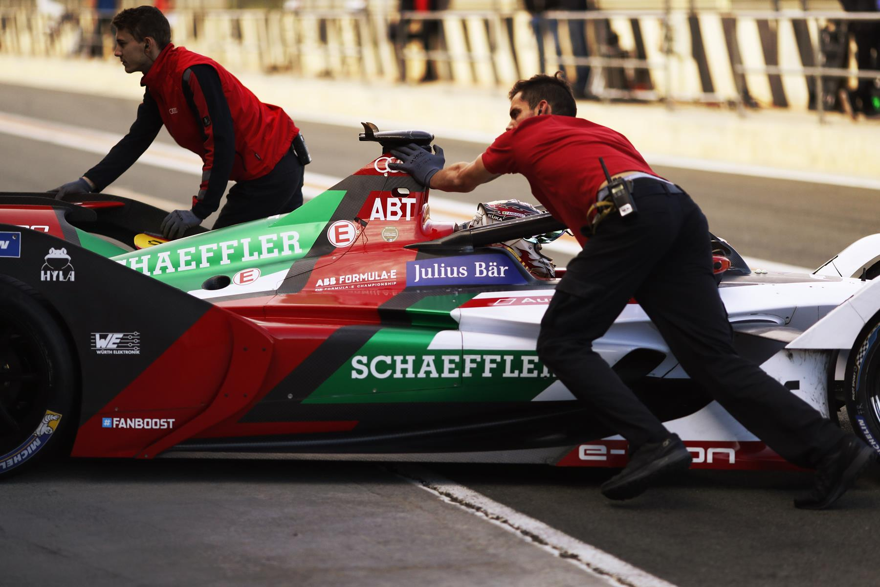 Audi-Formula-E-Car-pushed-back-into-Garage