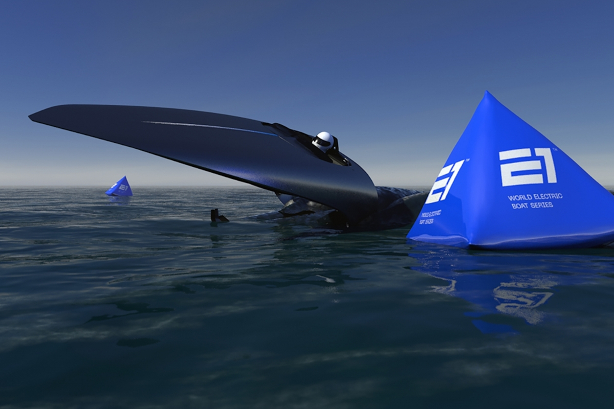 Electric-Powerboat-Blue-Pylons